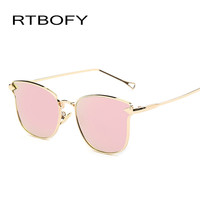 New Fashion  Oversize Cat Eye Flat Sunglasses Women Fashion Vintage Metal Frame Mirror Sun Glasses Unique Female Sunglass UV 400
