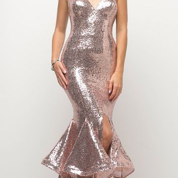 Long Sequin Sheath Mermaid Prom Gown Rose Gold Strapless