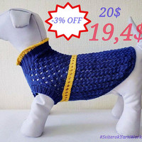 Blue Cotton Summer Dress For Dog. Handmade Knit Spring Clothes For Pets. Sweater for Dog. Dog Demi Season Clothes. Size M