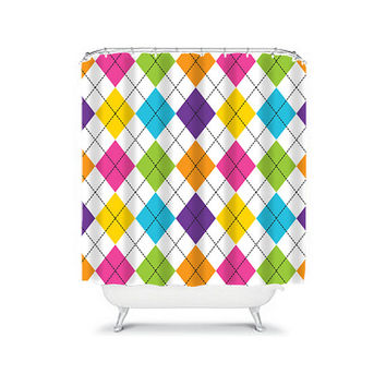 Shower Curtain Argyle Diamond Colorful Turquoise Pink Purple Green Geometric Pattern Bathroom Bath Polyester Made in the USA