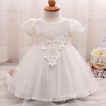 New baby girls flower dresses Newborn Clothes Lace white wedding dress baby bapteme princess ball gown vestidos bebe bautizo
