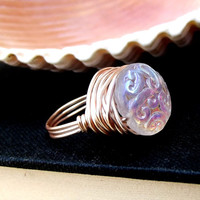 White Glass Ring: Rose Gold Wire Wrapped Opalescent Paisley Art Nouveau Jewelry, Size 7, Winter Wedding Accessory, Bridesmaid Ring