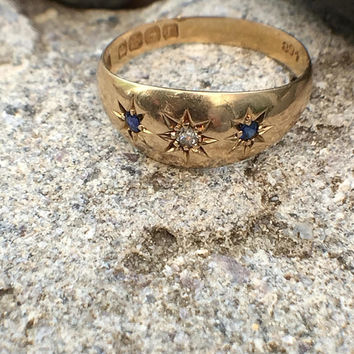 Antique Edwardian 18ct Gold Diamond & Blue Sapphire Friendship Gypsy Star Ring Era 1916 - Size N