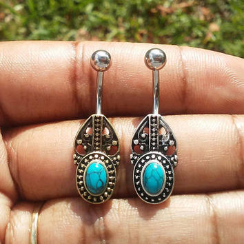14 gauge stainless steel bohemian turquoise  belly button ring, navel ring, body jewelry