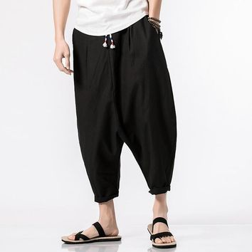 MRDONOO Summer Cropped Trousers Chinese Linen Long Shorts for Men Harem Pants Bermuda Casual Short Pants QT4018-3659