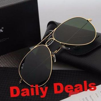 Ray Ban Aviator Sunglasses Gold Frame Green Lens RB3025 Sunglasses