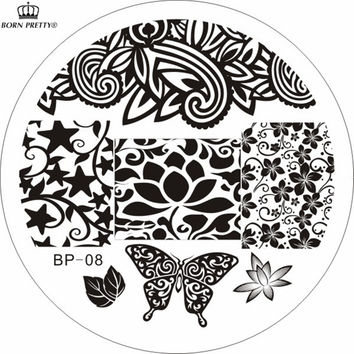 Flowers & Butterfly Pattern Nail Art Stamp Template Image Plate BORN PRETTY BP08