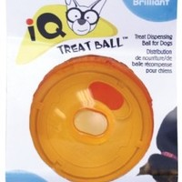 OurPets Smarter Toys Interactive IQ Treat Ball Dog Toy, 4 Inches (Colors may vary)