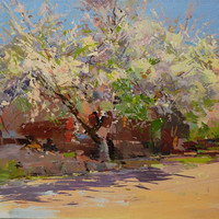 Oil painting landscape, Spring canvas art, Lilac landscape painting, Bold spring tree painting