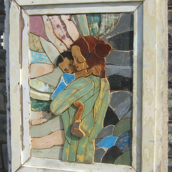 Reclaimed Wood Art, Mother With Baby, Salvaged Wood Mosaic