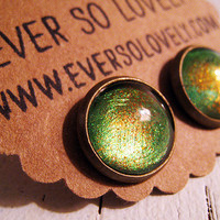 rainbow python handmade metallic green and brown sparkly earrings by eversolovely