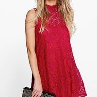 Penny Lace High Neck Shift Dress | Boohoo