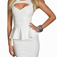 White Cut-Out Peplum Bodycon Dress