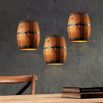 Country Wooden Barrel Pendant
