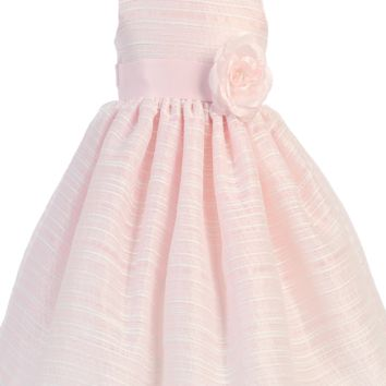 Light Pink Striped Organza Overlay Easter Spring Dress w Satin Sash (Baby 3 Months - Girls Size 10)