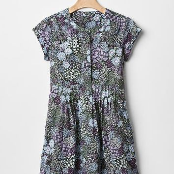 Gap Girls Floral Pintuck Waist Dress
