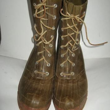 True Vintage CONVERSE BOOTS Tall brown Rubber Hunting Fishing Ra 1894ae84a