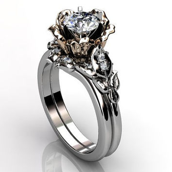 14k two tone white and rose gold diamond unusual unique floral engagement ring, wedding ring, engagement set ER-1041-5