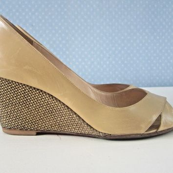Christian Louboutin Beige Peep Toe Sandal, Gold Wedge 70mm Heels. Size 39.5