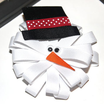 Snowman ribbon sculpture hair clip Christmas hair bow Winter hair clip Frosty hair bow Christmas hair accessories Holiday hair clip