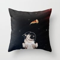 Pug and Pizza Space Throw Pillow by lostanaw
