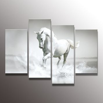 4 The Panel Wall Art of White Horse Painting Pictures Print On Canvas The Picture For The Home Modern Decoration piece(Frame:No)