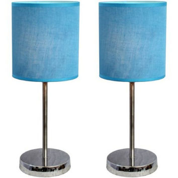 Simple Designs Chrome Mini Basic Table Lamp with Fabric Shade 2-Pack Set Blue