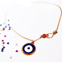 Necklace - Simple gold and blue evil eye necklace, Modern charm casual necklace, Classy simple jewelry, Unique blue necklace