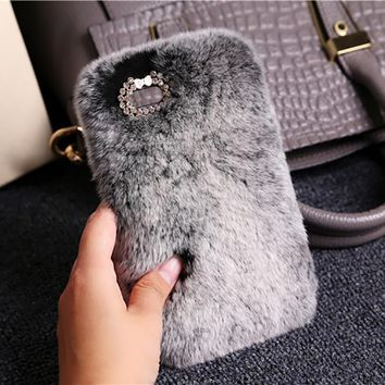 Cute Fluffy Rabbit Hair Fur Phone Case For iPhone X 10 8 7 6 6S plus 5 5S SE Soft Cover Plush Warm Case For iPhone Xs 7 8 Plus