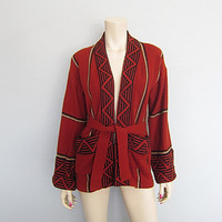 Hippie Vintage 60s 70s Indian Southwestern Cardigan Wrap Sweater Tribal Navajo Boho Jacket Bell Kimono Sleeve
