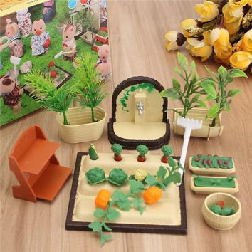 Miniatures Gardening Vegetable Flowers Food Furniture Sets For Doll House