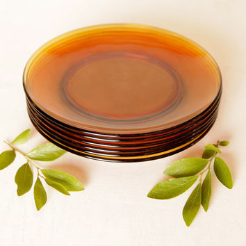 Vintage Duralex France Amber Glass, Single Replacement Plate or Set of 6 8 or 12 Side or Salad Plates, 60s 70s Bread and Butter Plates