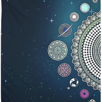 Mandala Planets Tapestry Mandala Galaxy Dark Blue Deep Space Wall Hanging