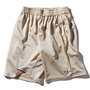 Champion New Fashion Women Men Casual Logo Embroidery Sports Running Shorts(5-Color) Golden I12684-1