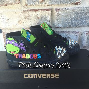 Ninja Turtles Inspired Custom Couture Spiked Converse