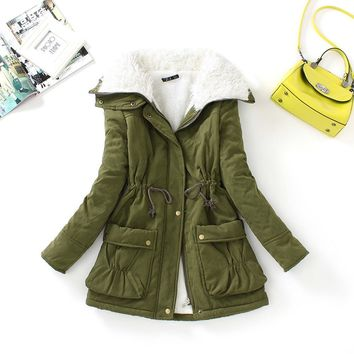 New winter women cotton coats medium long wadded slim jacket thermal plus size warm parkas casual quilt overcoat