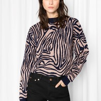& Other Stories | Jacquard Zebra Sweater | Nougat