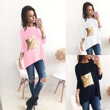 Winter Women's Fashion Patchwork Three-quarter Sleeve Irregular T-shirts [9694834767]