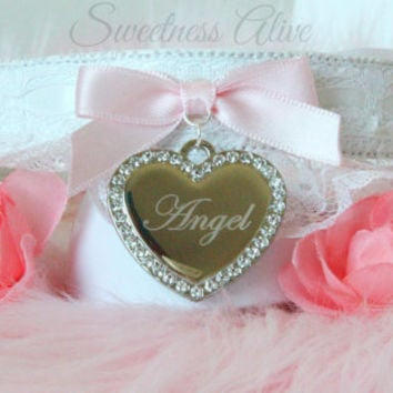Angel Baby PU Leather Ruffle Lace Collar w/ Heart Rings and Sterling Silver Crystal 'angel' tag