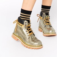 Caterpillar Colorado Burnish Brights Gold Leather Ankle Boots