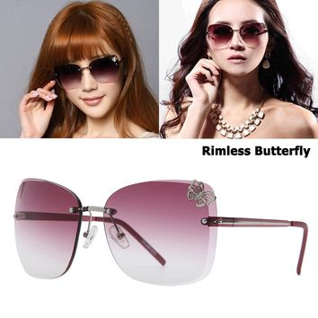 JackJad 2018 Fashion Women Butterfly Decoration Gradient Rimless Sunglasses Vintage Butterfly Sun Glasses Oculos De Sol Feminino