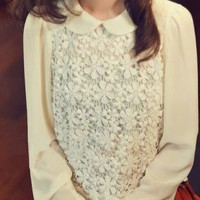 Lace Embroidered Long Sleeve Blouse with Peter Pan Collar