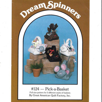 Dream Spinners 124 Pattern for Pick-A-Basket, Animal Baskets UNCUT, Great American Quilt Factory, 1986 Home Decor Pattern, Vintage Pattern