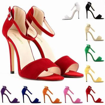 LADY SEXY PARTY OPEN TOE BRIDAL Flock HIGH HEELS SHOES SANDALS US SIZE 4-11 10 color