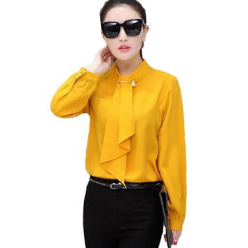 Autumn Fashion Korean Casual Chiffon Blouse Shirt Ruffles Stand Collar Long Sleeve Loose Office Women Chiffon Shirt Women Tops