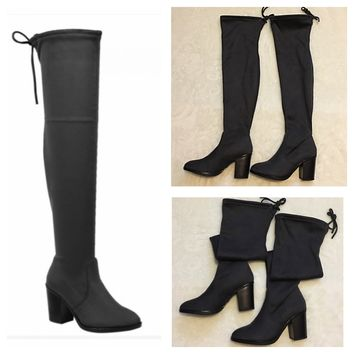 """Sassy Me"" Above the Knee Suede Grey Heel Boots"