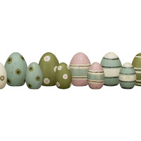 Decorative Wooden Eggs, Set of 12, Holiday Objets