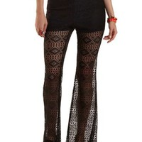 Black High-Waisted Flared Lace Pants by Charlotte Russe