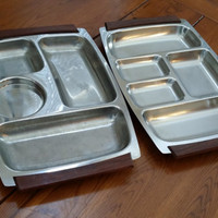 Set of 2 Vintage Mid Century Stainless Steel Divided Serving Trays Perfect for Entertaining Jewelry Button Bead Storage and Organization