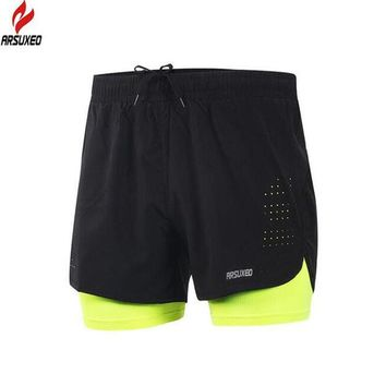 DCCKF4S ARSUXEO Men's 2 in 1 Running Shorts Quick Dry Marathon Training Fitness Running Cycling Sports Shorts Trunks